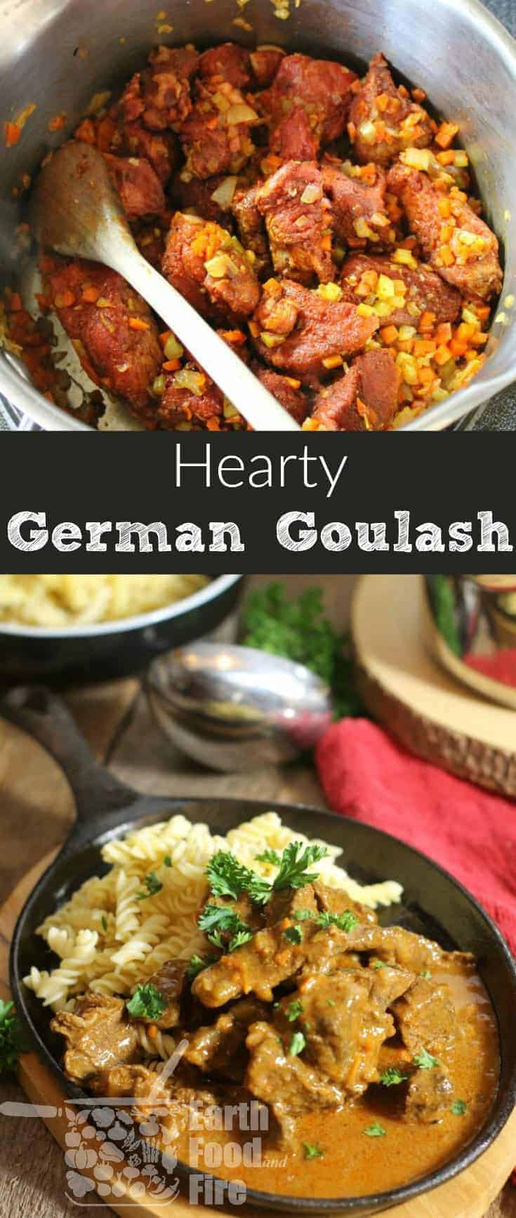 Slowly stewed, this hearty dish is the definition of comfort food! Learn how to make this simple German Goulash from scratch yourself. #goulash #beef #crockpot