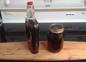 homemade maple syrup in glass jars