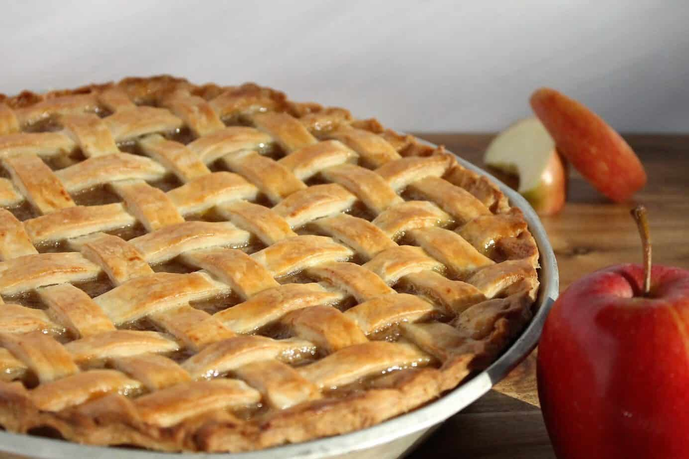A beautiful lattice topped homemade apple pie, this recipe is great for beginners.