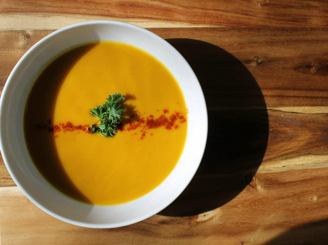 A simple and healthy from scratch butternut squash soup with curry recipe