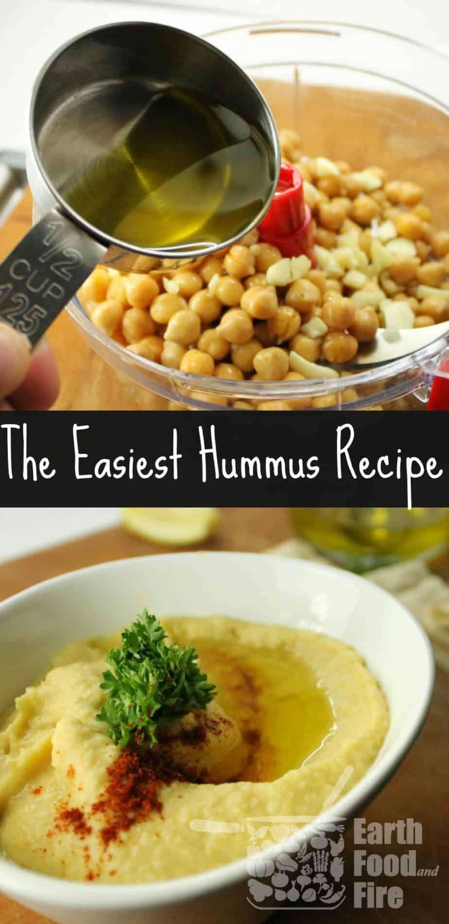 The simplest 5 ingredient hummus recipe. Easily modified to suit your own tastes & great as a dip for crudites platters.