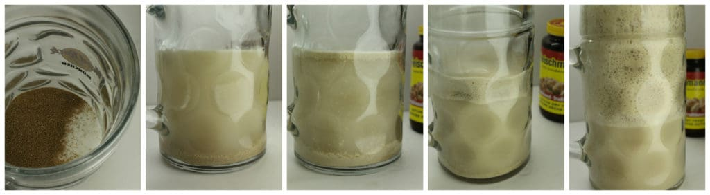 A series of images showing yeast blooming in a glass jar