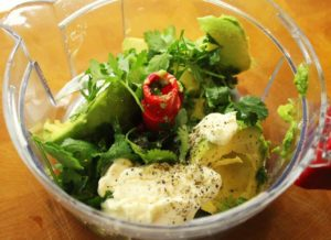 Mix Avocado, Cilantro, Mayo and lemon for a delicious spread