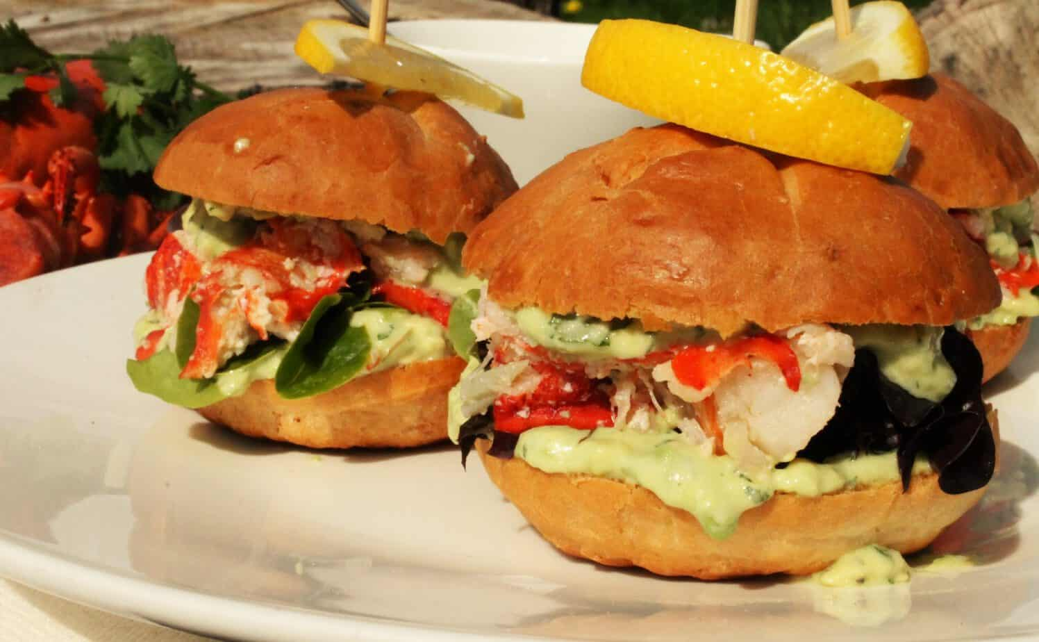 A new take on the Lobster Roll. Fresh Pei Lobster with a Cilantro and Avocado Mayo..in Slider form!