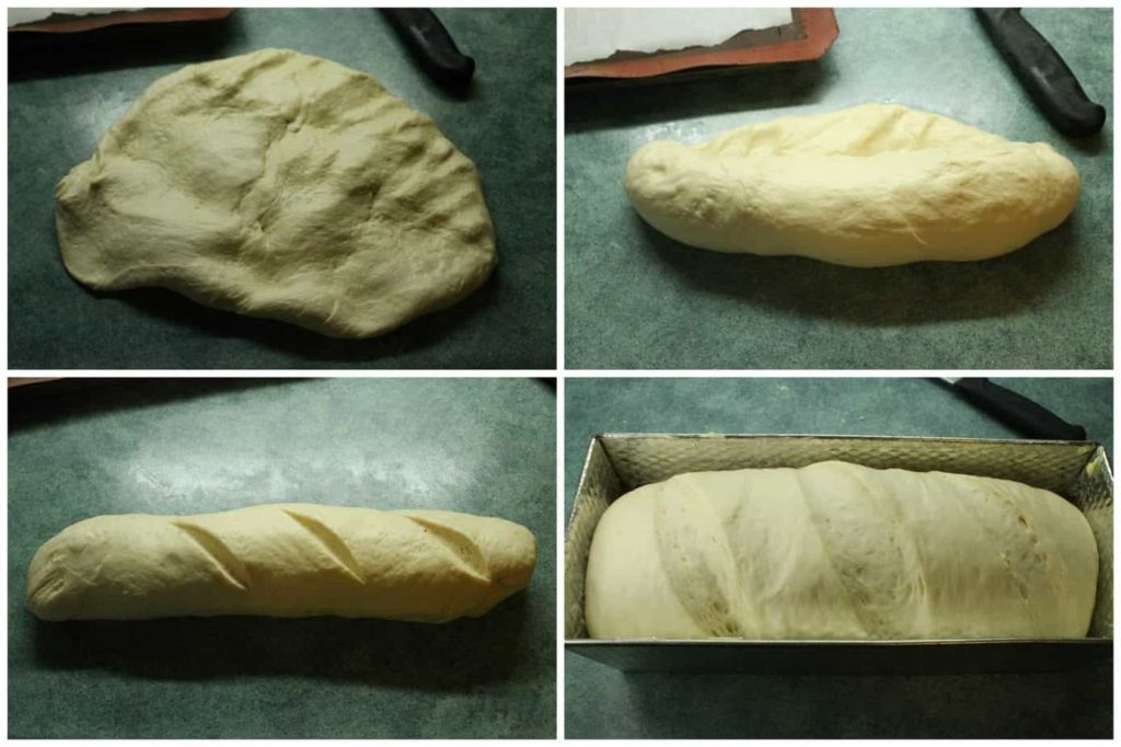A series of pictures showing how bread is shaped before being placed into a loaf pan.