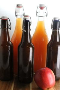 A great way to store homem made apple cider is in old pop top beer bottles!