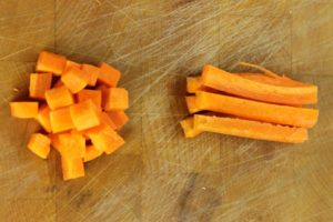 Medium Diced and Battonet cut carrots