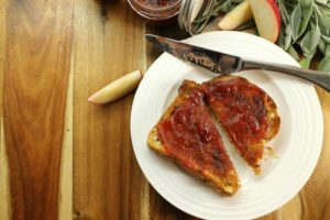 homemade apple butter spread on freshly baked bread.