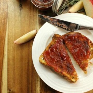 homemade apple butter spread on freshly baked bread.