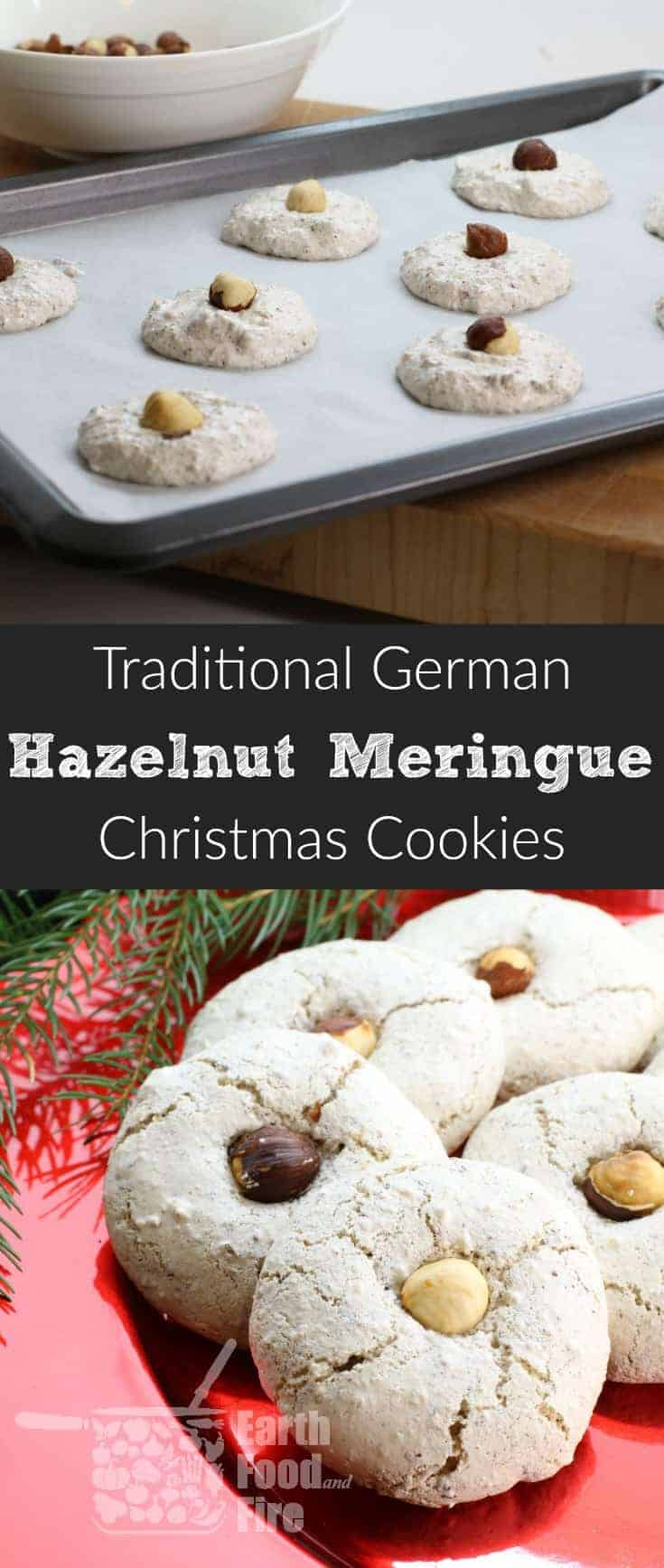 These German Hazelnut Meringue Cookies are light and oh so delicious! Perfect for the holidays and they only take half an hour to make! #hazelnut #cookies #christmas #baking #german #glutenfree