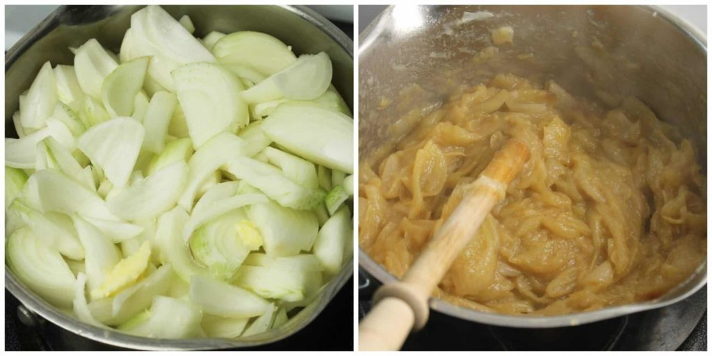 Onions being caramelised in a pot on a stove. before and after cooking