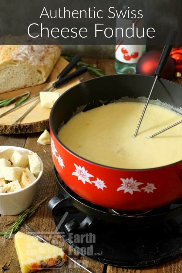 A simple meal best enjoyed with friends, fondue makes a fun appetizer or meal. Make this traditional Swiss Cheese Fondue at your next get together or party! #fondue #cheesefondue #appetizers