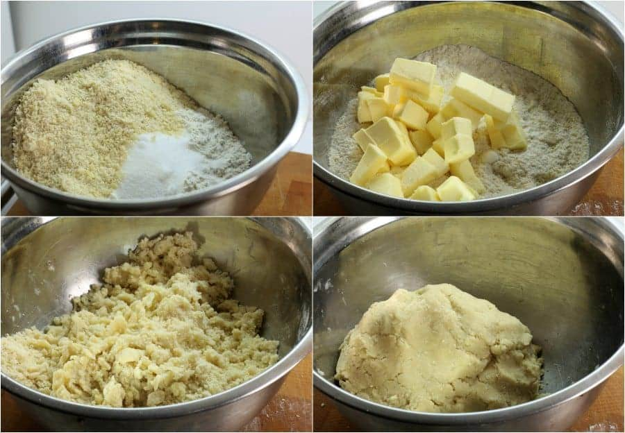 a series of images showing how to mix the ingredients to make vanillekipferl cookies.