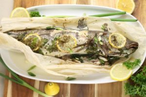 Whole Baked Haddock in parchment paper is an easy set and forget it supper !