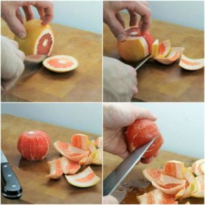 four pictures showing how to peel and segment a grapefruit citrus