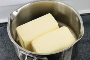 two pounds of butter in a steel pot