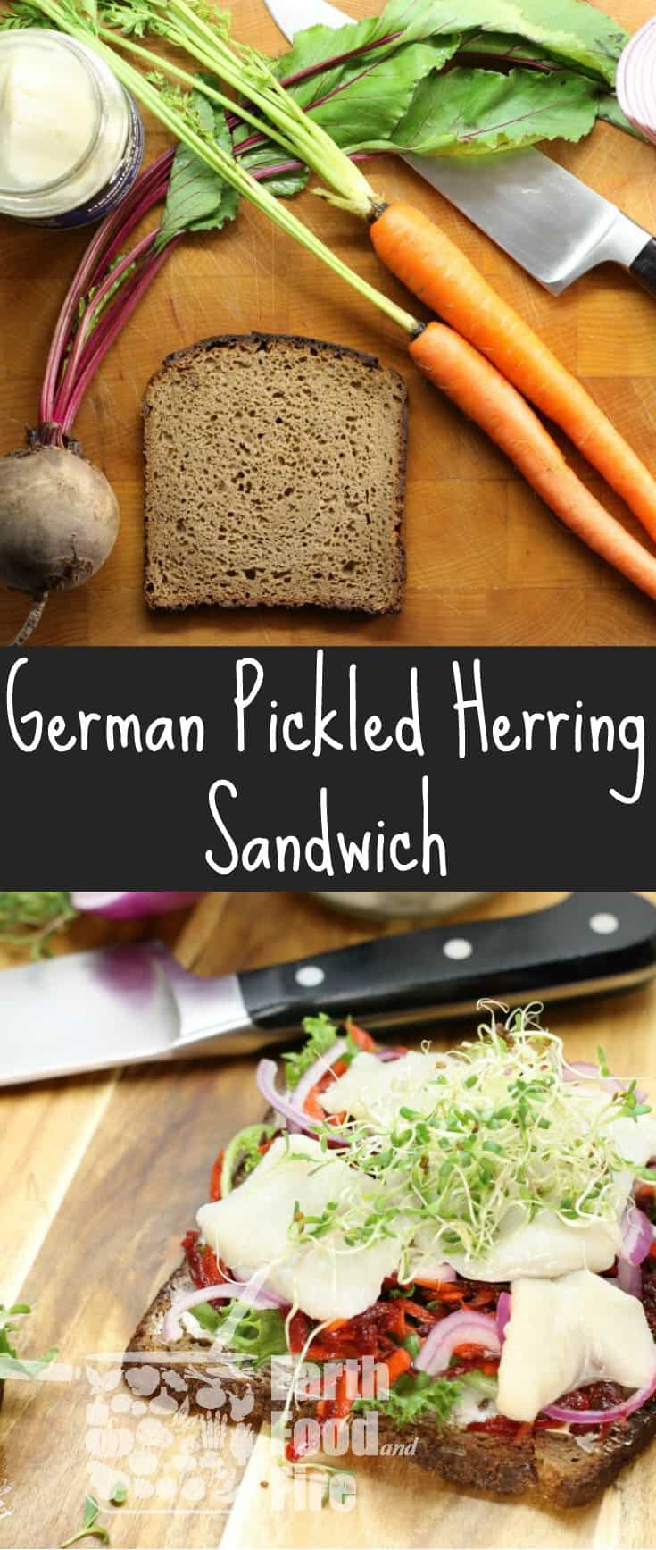 A European classic, this pickled herring sandwich, features dark rye bread, a beet and carrot slaw, red onion, and homegrown alfalfa sprouts!