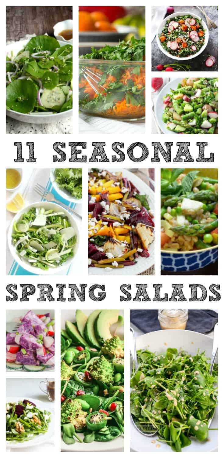 Spring is a great time to re-set your diet & start eating seasonally for a cleaner, healthier lifestyle. These 11 spring salads are the perfect place to start! @simplyfresh @forestandfauna @monpetitfour @Platingspairing @Loves_biscotti @MariaUshakova @killing__thyme @diversivore @homemakerstacey @nourishandfete @kikisurlechamp