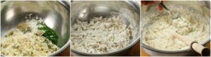 Add the dry ingredients to the boiled and flakes salt cod before mixing in the liquids