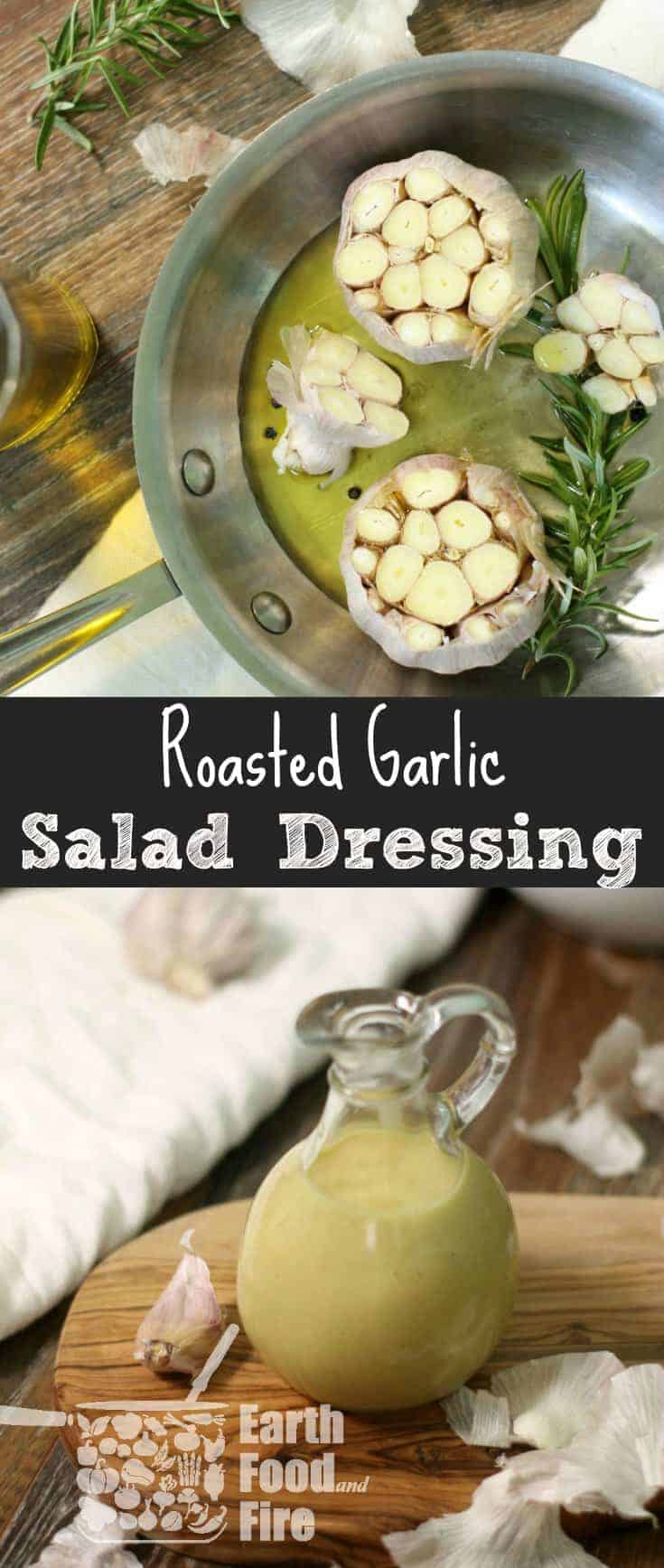 This easy to make creamy roasted garlic salad dressing will instantly become your new favorite vinaigrette. Ideal for a wide range of salads, this gluten free dressing can be used as a base for many other dressings as well!