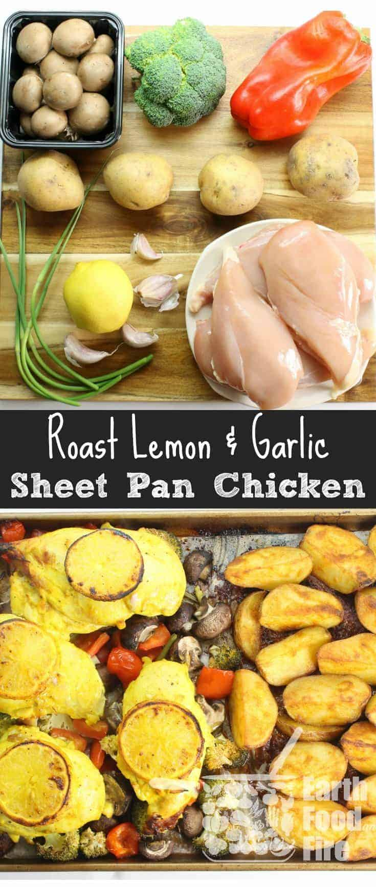 Healthy sheet pan suppers are ideal for busy families looking to do less cooking and cleaning, while enjoying a full fledged meal. This garlic & lemon roasted chicken with sides, will feed a hungry family, without having to stand in front of the stove or do a lot of clean up. #sheetpan #supper #mealprep #chicken
