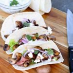 Steak and mushrooms are the definition of comfort food! These flank steak tacos are the perfect appetizer or gourmet snack for mushroom lovers!