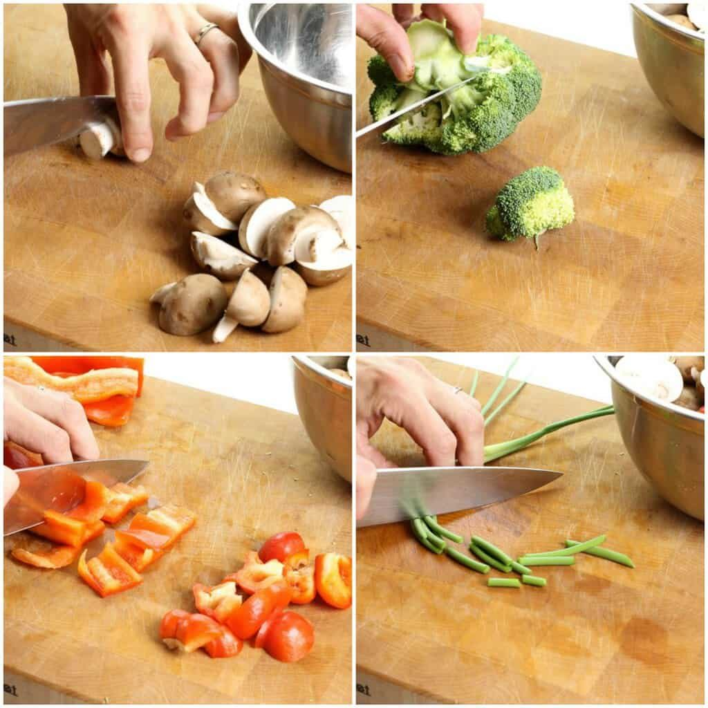 Cutting vegetables for a one pan supper recipe
