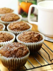Moist and full of flavour, these pumpkin breakfast muffins, are a real treat during the fall!