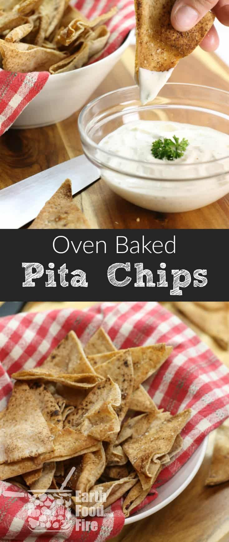 Homemade pita chips are an easy and healthy snack great for after school or simply when a chip craving hits. Serve with hummus or homemade salsa! #pita #chips #baked #snacks