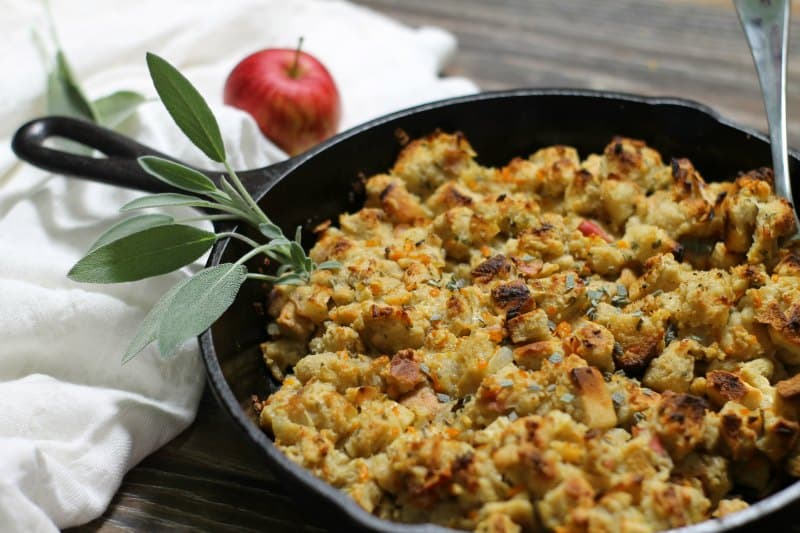 Easy to make, moist, and full of flavor, this apple and sage stuffing cooked in a cast iron skillet will become your new favorite dressing!