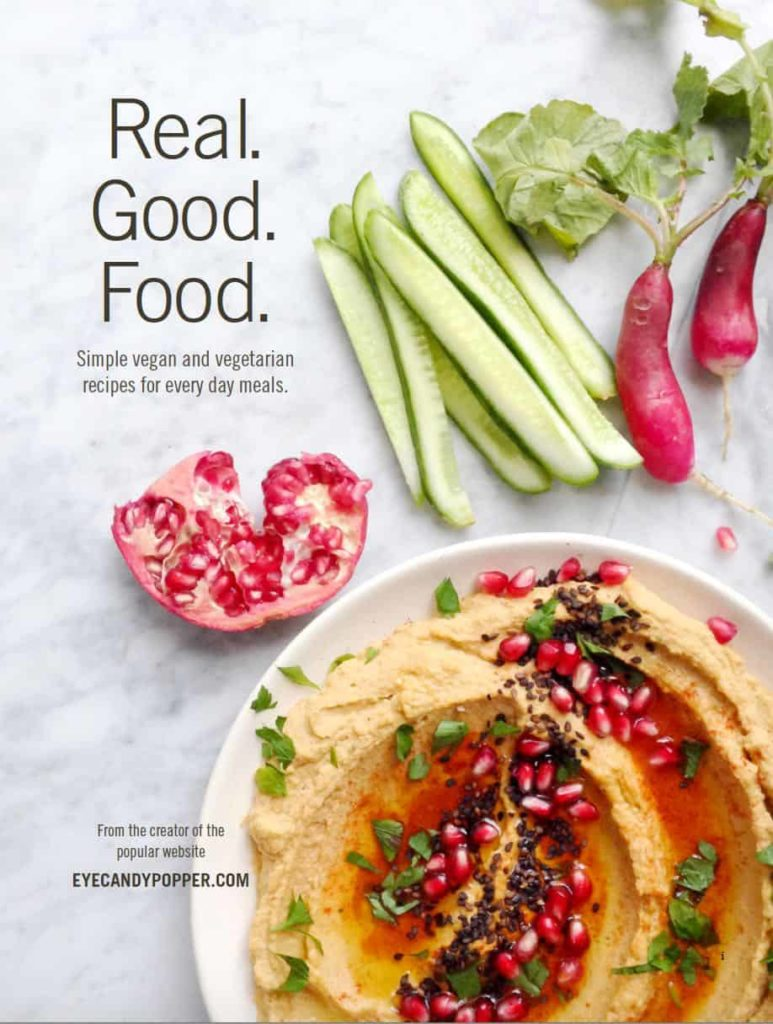 The book cover for Real. Good. Food., an ebook featuring over 40 organic meal ideas and recipes