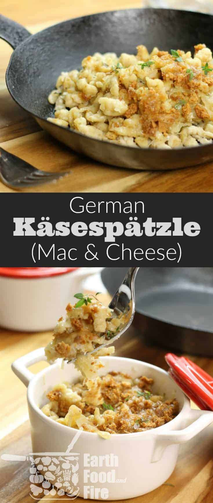 German käsespätzle also known as cheese spaetzle, is an easy to make noodle dish loaded with Emmental Cheese. Basically a fancy Mac & Cheese this traditional German dish is ideal for lunch or a quick supper! #spaetzle #cheese #macandcheese #noodles