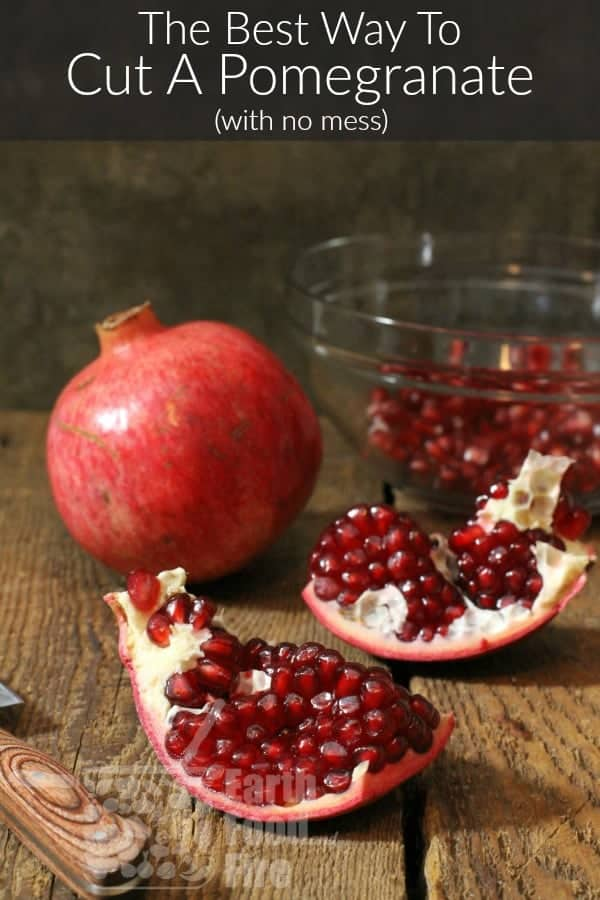 pinterest image of freshly cut pomegranate with a banner reading