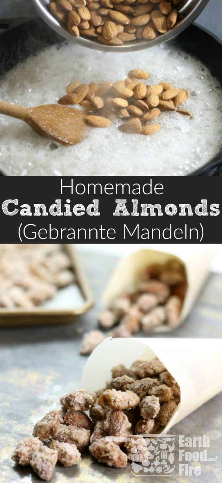 A delicious treat especially during the holiday season, candied almonds,('gebrannte mandeln' in German) are easy to make at home with only a handful of ingredients. Kids and adults a like will love these sweet roasted nuts! Gluten Free and Dairy Free to boot! #almonds #candied #gebrannte #mandeln