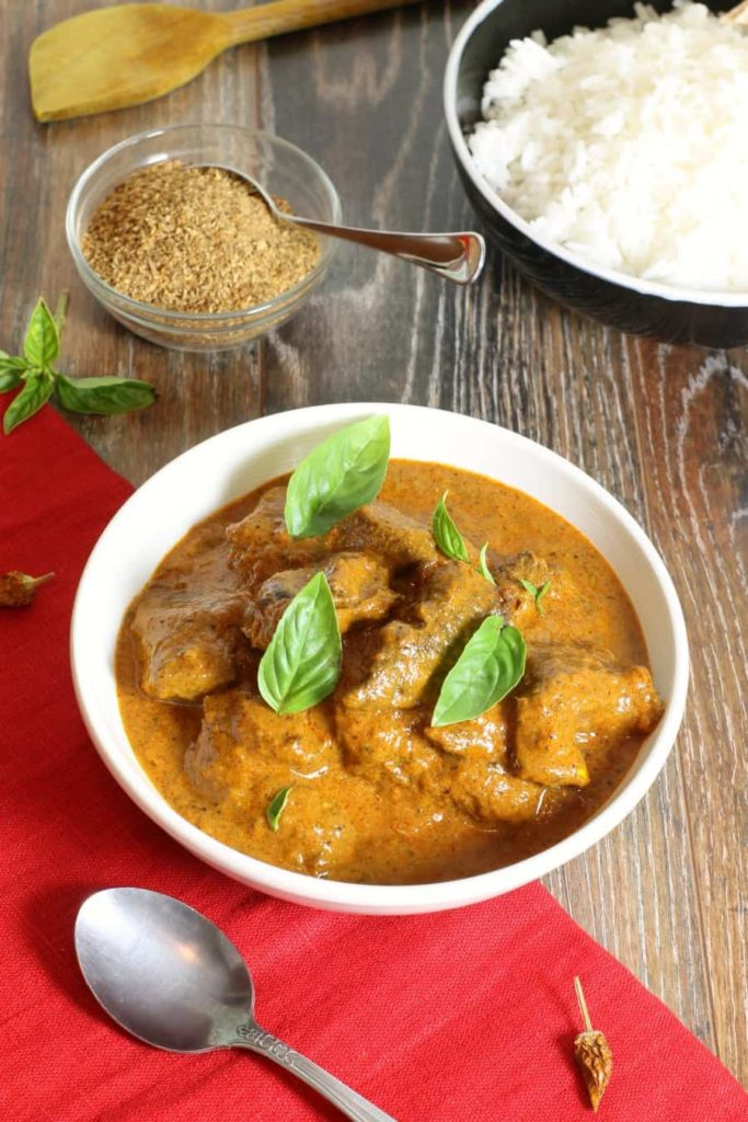 A popular curry dish with Persian and Indian history, this beef korma recipe is easy to make at home with everyday ingredients. Create your own curry blend or use a store bought one to make this simple and flavorful beef korma any day of the week.  #curry #beef #korma #glutenfree