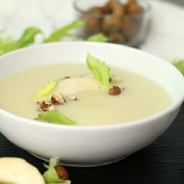 Silky smooth with a hint of pear and hazelnuts, this creamy parsnip soup is ideal for a fall inspired appetizer or meal.