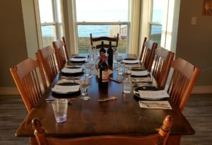 A set table ready for a catered in home dinner party from Chef Markus Mueller
