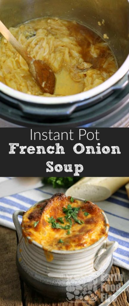 A classic soup full of sweet caramelized onions, rich beef broth, and topped with cheesy goodness, making restaurant quality French onion soup couldn't be easier then this! #glutenfree #frenchonionsoup #instantpot #onion #soup #appetizer #entree