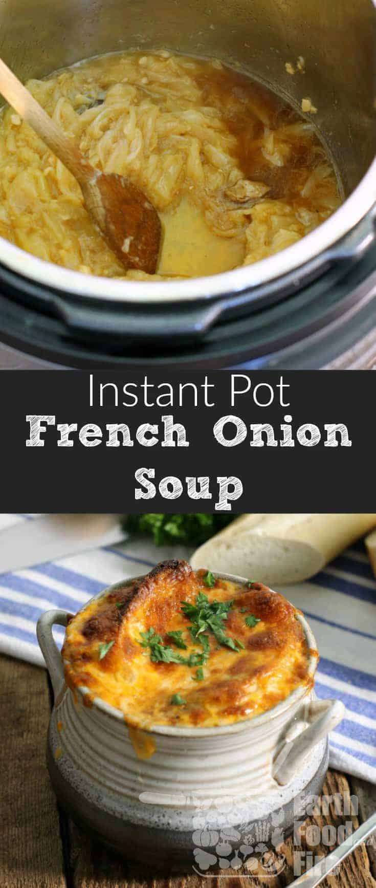 A classic soup full of sweet caramelized onions, rich beef broth, and topped with cheesy goodness, making restaurant quality French onion soup couldn't be easier then this! #glutenfree #soup #frenchonionsoup #instantpot
