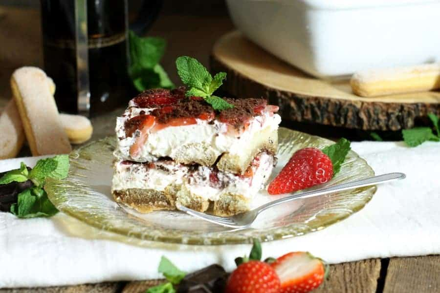 Strawberry Tiramisu with Dark Chocolate
