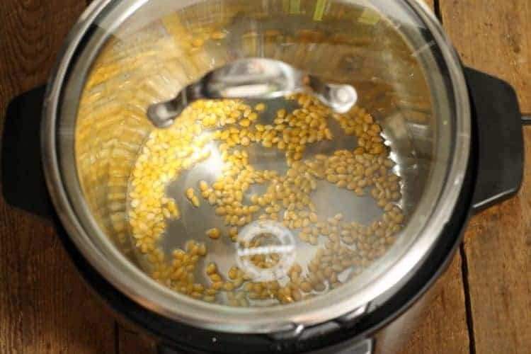 A glass lid covering an instant pot containing popcorn kernels.