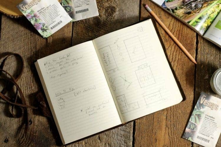 A leather bound notbook filled with notes on how to start a vegetable garden from scratch