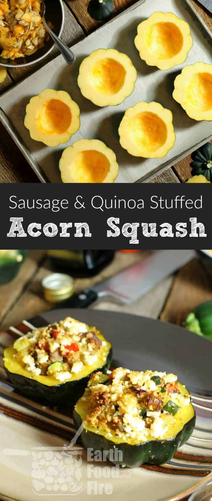 These quinoa and sausage stuffed acorn squash are a flavor packed and healthy 'all in one' meal. Perfect on their own or served at a family gathering or potluck. #acornsquash #stuffed #glutenfree #quinoa
