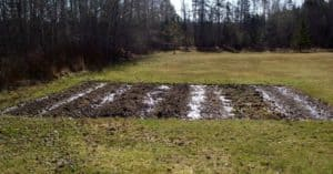 a large tilled vegetable plot ready to be worked.