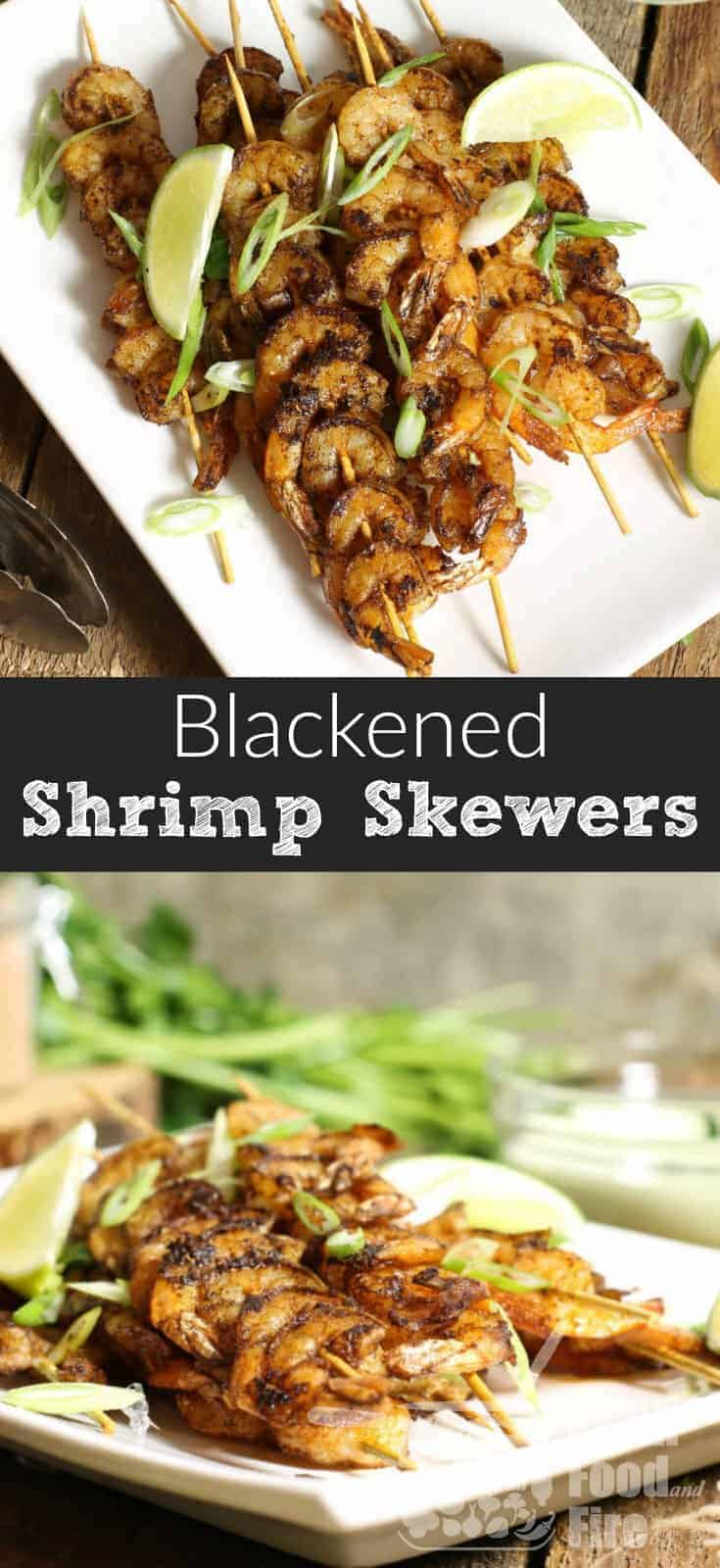 These blackened shrimp skewers are easy to make, and the ideal appetizer or party food item. They also make a great light meal when served with rice or salad and boast strong Cajun flavors. #cajun #shrimp #blackened #skewers