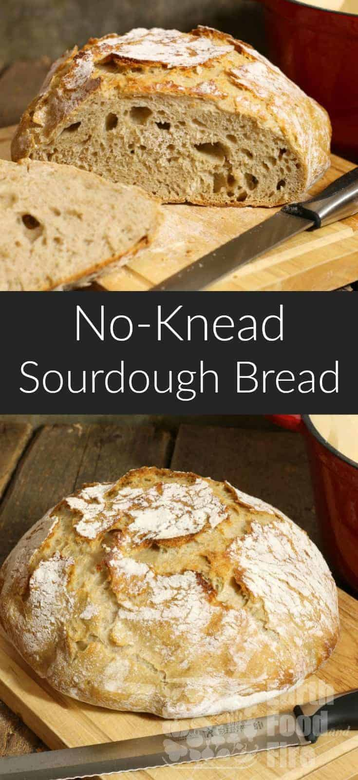 A basic sourdough bread requiring minimal effort. This no knead recipe is a great intro to baking sourdough bread from scratch. #bread #sourdough #noknead #fromscratch
