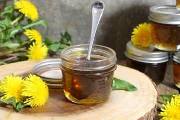 a small mason jar filled with homemade dandelion syrup surrounded by dandelions