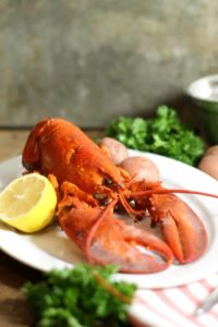 An Atlantic lobster freshly boiled and displayed on a white platter with lemon and parsley