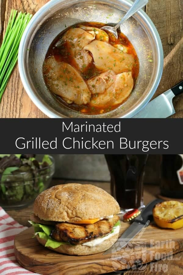 These marinated grilled chicken burgers are juicy, tender and full of flavor. Perfect for a weeknight summer meal or BBQ. #bbq #chickenburgers #marinatedchicken #chickenbreastburger #grilledchicken