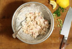 Fresh lobster mixed with mayo, lemon juice, and celery for lobster rolls